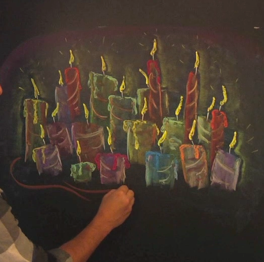Holiday Candles Chalk & Block Crayon Tutorial