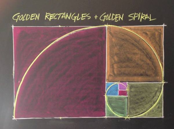 Geometric Chalk Drawing: Golden Rectangles